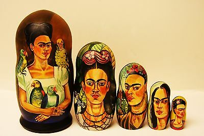 """Alkota's Russian Collectible Hand Painted Nesting Doll """"Frida Kahlo"""", 7"""", Unique"""