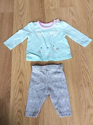 Baby Girls TU 2 Piece Set Top Trousers Leggings Newborn Outfit Grey Pink Green