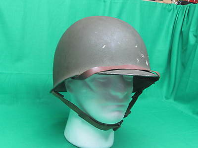 Lot 3) WW2 US Fixed Bale Military Steel Helmet St Clare Liner Front Seam Army
