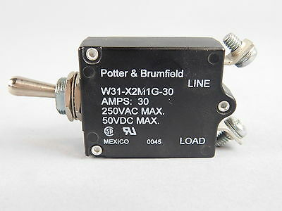 Potter & Brumfield 1-Pole, 30A Thermal Toggle Circuit Breaker W31-X2M1G-30
