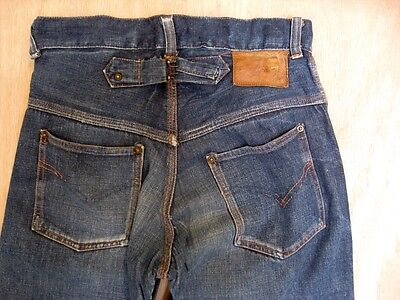 Vintage 1930s Buckle Back Cinch Painter Work Pants Jeans Button Fly Size 29 X 28