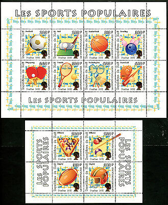 Mali 2011 2 Sheets Mng Sports Billard Table Tennis Football Rugby Basketball