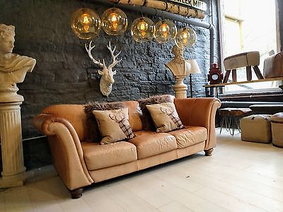1838 Chesterfield brown Leather Vintage Laura Ashley 3 Seater Sofa Courier av