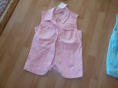 Quacker Factory Size Xs New With Tags Pink Denim Strtech Vest Silver Rhinestone