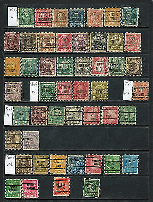 49 All Different Detroit,  Michigan  Local  Precancels - Various Type Styles
