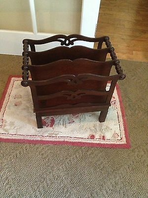 Magazine Rack Stand Mahogany Antique Vintage