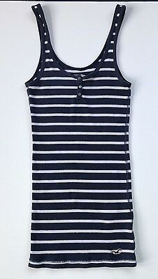 "Hollister Co Women""s Size Small Tank Top Blue White Striped"