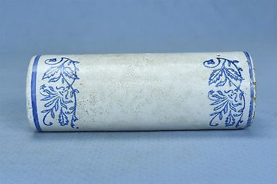 Antique BLUE & WHITE WILDFLOWER STONEWARE POTTERY ROLLING PIN PART OLD #03285