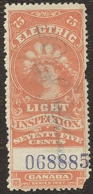 Revenue Stamps Canada # FE 12, 75¢ 1900, electric, lot of 1 used stamp.