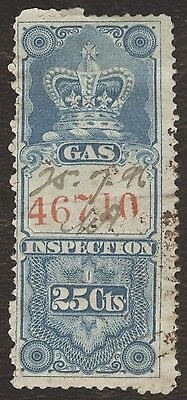 Revenue Stamps Canada # FG 9, 25¢, 1875, Crown, lot of 1 used stamp.