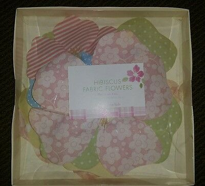 Pottery Barn Fabric Flowers Wall Decor Set of 6 NEW