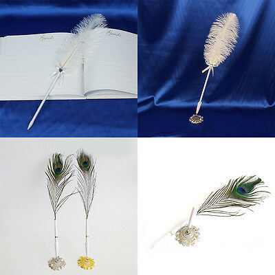 Ostrich/Peacock Feather Quill Signing Pen Metal Holder Wedding Party Pen Sets