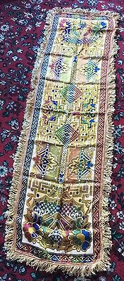 Stunning vintage colourful table runner  with gold thread fringed  approx 58 ins