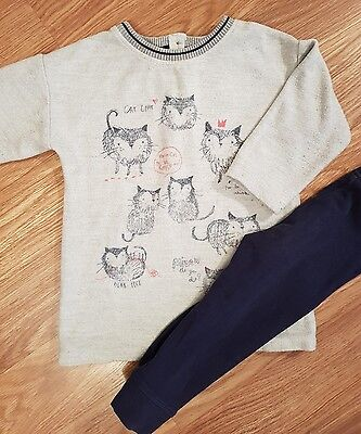 next 12-18 months girls cats jumper dress and leggings set