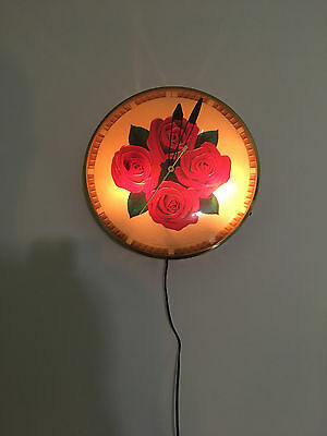 Rare Antique 4 Four Roses Whiskey Lighted Advertising Clock Sign - Runs & Lights