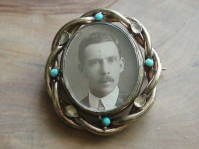 Large Antique Victorian Turquoise Swivel Photo Locket Mourning Pendant Brooch