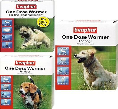 ONE DOSE WORMER - (small / med / large) - Beaphar Dog Tablets bp Round Tape Worm