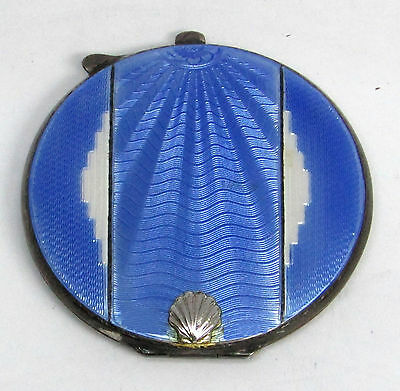 Fabulous Art Deco English Birmingham Sterling Silver Blue Enamel Compact