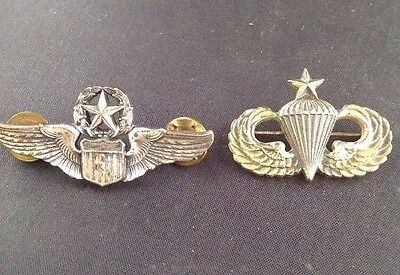 Lot Of 2 U.s. Military Pins 1/20 Silver Plated,Sterling Silver