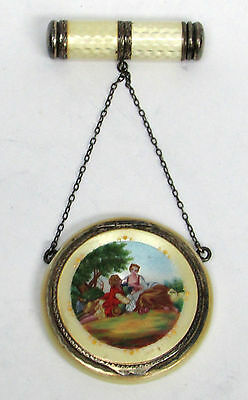 Beautiful Antique German Sterling Silver Enamel Compact & Lip Stick Chatelaine