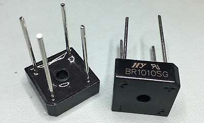 Two BR1010SG, Bridge Rectifier - 10A 1000V, 4-Pin BR-8