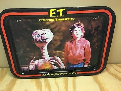 Vintage 80's E.T. Extra Terrestrial Movie Metal TV Tin Bed Food Tray Used Lunch