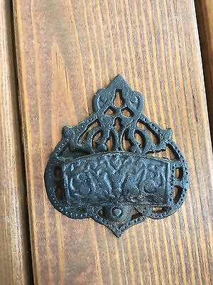 Antique Cast Wrought Iron Match Holder Wall Pocket