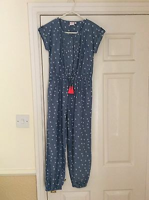 Girls Blue Zoo Jumpsuit Age 10 Blue With White Pattern