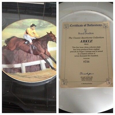 Royal Doulton Arkle Plate With Certificate Of Authenticy