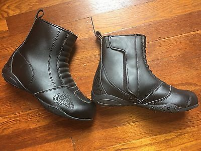 Womens Rocket Leather Motorcycle Boots Women Size 10 Biker Riding