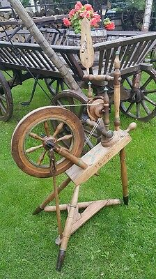 Antique Old Primitive Spinning Wheel Dated: 1899! With Hand Carved Distaff's Pin