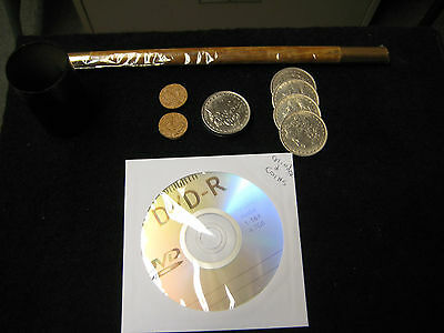 John Ramsay 4 Coin Stack Cylinder And Coins Routine Package