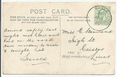 BRIGG 1905 SKELETON POSTMARK ON KING EDWARD VII ½d GREEN POSTCARD  796