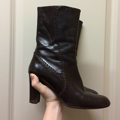 COLE HAAN Women's Brown Leather Ankle Boots Side Zip Size 6.5 Made In Italy