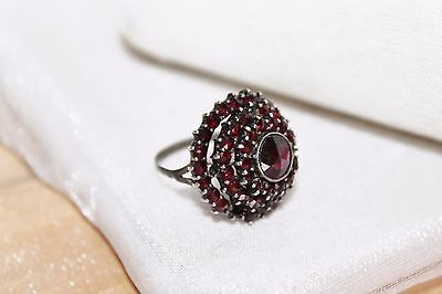 VICTORIAN Antique STERLING Silver Rose Cut BOHEMIAN GARNET Cluster Dome Ring sz