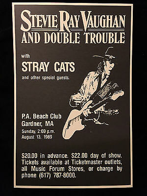 Stevie Ray Vaughan-1989-Concert Tour  Poster-Stray Cats-Near Mint To Mint