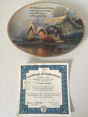 "Thomas Kinkade's Guiding Lights  Oval Plate "" Lochaven Cottage"" COA"