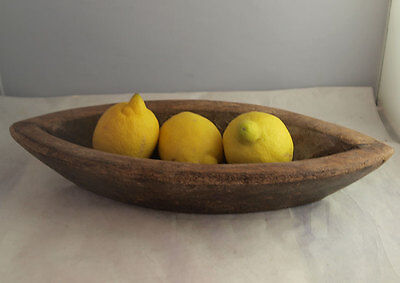 Rustic Country Navette Shaped Wooden Bowl