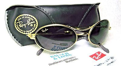 """RAY-BAN *NOS VINTAGE B&L ORBS """"ELLIPSE"""" W2177 Matte Gold Oval *NEW SUNGLASSES"""