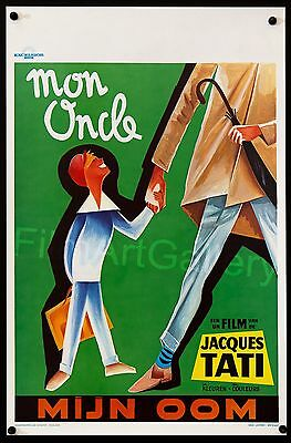 "MON ONCLE/MY UNCLE Jacques Tati 14""x21"" Belgian rolled RI poster Film/ArtGallery"