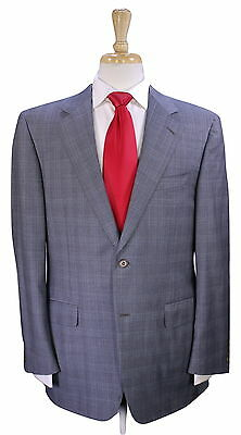* CANALI * Very Recent Gray/Turquoise Plaid 2-Btn 120's Wool Luxury Suit 40R