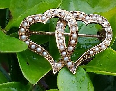 Antique 14k Yellow Gold Seed Pearl Witches Heart Brooch Pin Estate Jewelry 2.6 g