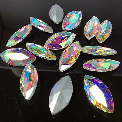 Navette 7*15mm Rhinestones Mixed Colors Glass Chaton Strass Crystal Bead 15ps U2