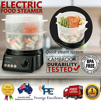 Electric Food Steamer Compact Healthy Cooker Timer BPA Free 2 Vegetable Steaming