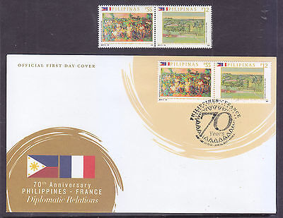 Philippines Stamps 2017 MNH Flags RP-France Paintings complete set + FDC