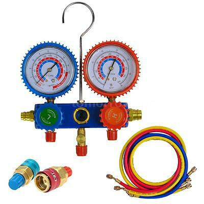 Car A/C Manifold Gauge Set R-134a Auto Air Conditioner /w 3 Hose Coupler J8F3