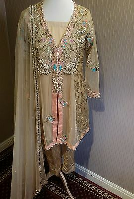 pakistani embroided elan inspired dress size S/M. in gold 2 tone.