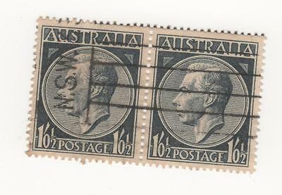 1952 Australia KGVI 1/1/2d BLUE - JOINED PAIR of stamps - USED