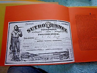 Historical Mining Certificates Sutro Tunnel Gold Hill Virginia Tunnel Mining Co