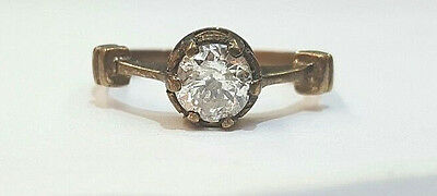 Vintage 14K Yellow Gold  Ring 1.02Ct. Natural Old Mine Cut Diamond G-I1